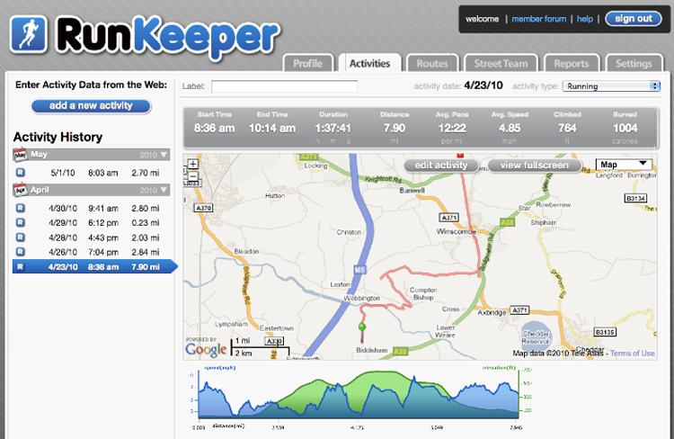 Runkeeper app per correre
